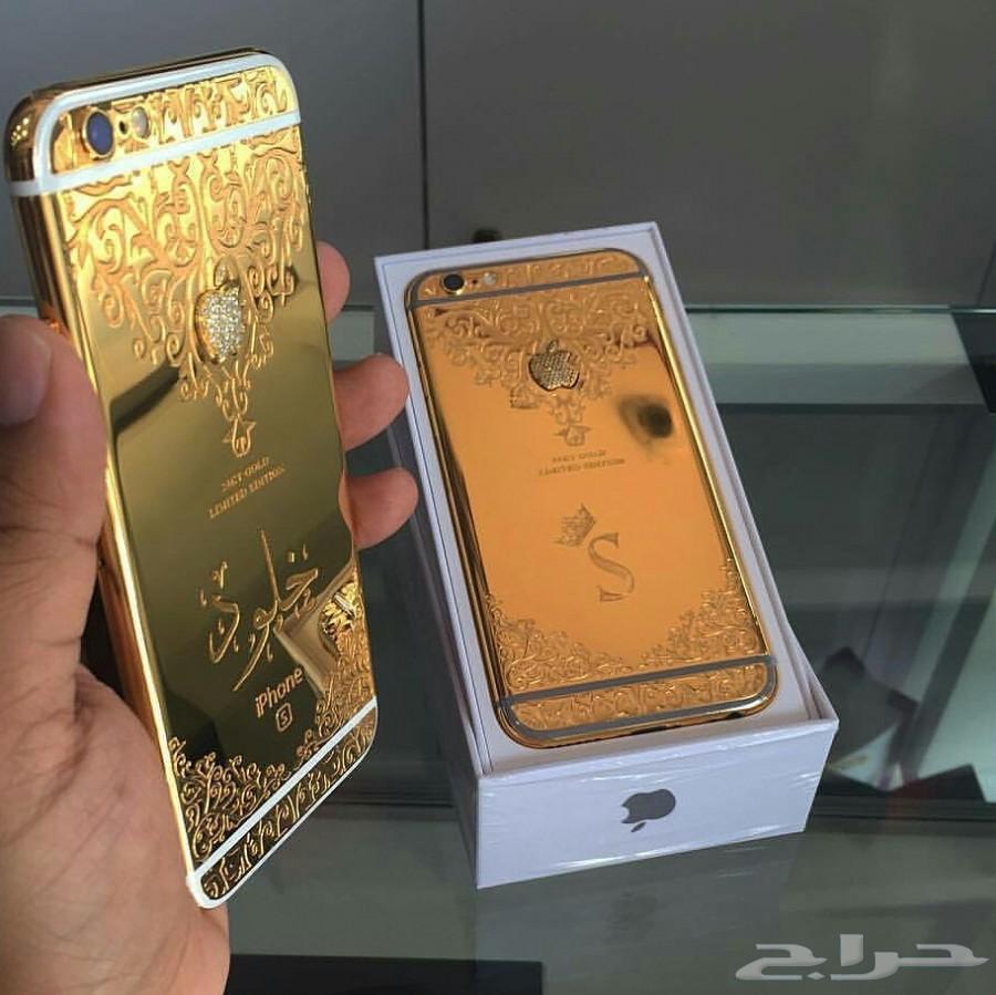 لأول مره بالمملكة ايفون 7 مطلي بالذهب الاصلي عيار 24 قيراط افخم هدايا الجوالات والعرسان على الاطلاق